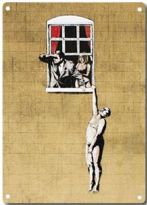 Banksy Lover Hanging From Window metal sign   200mm x 140mm  (2f)